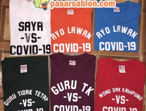 Jasa Sablon Kaos Kata Seri Corona Surabaya